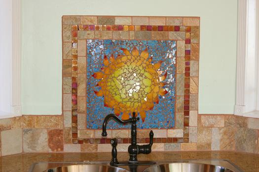 Southwestern Sunflower Kitchen Backsplash Zoe Mosaic Designs